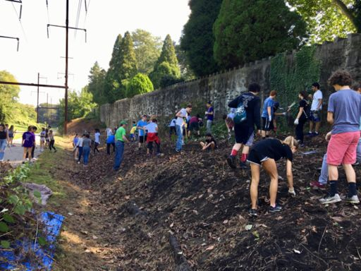 Harriton, LM & BC buildOn community teams kick off another year of service at Cynwyd Heritage Trail
