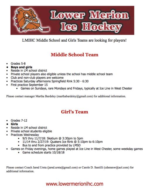 Lower Merion Ice Hockey Middle School & Girls Teams Looking for Players!