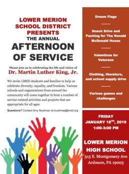 "LMSD to host Annual Dr. Martin Luther King, Jr. ""Afternoon of Service"""