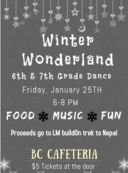 "BCMS ""Winter Wonderland"" 6th & 7th Grade Dance"