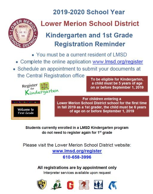 2019-2020 Kindergarten & 1st Grade Registration Reminder