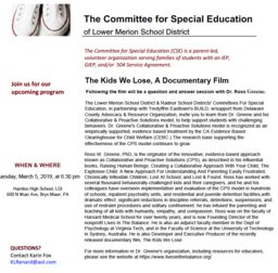 Committee for Special Education presents a pair of informational events with Dr. Ross Greene