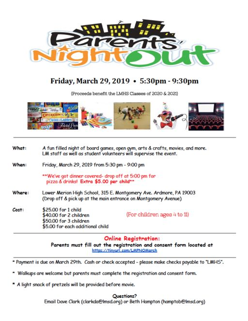 """Parents' Night Out"" Fundraiser at LMHS"