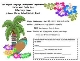 English Language Development (ELD) Literacy Luau