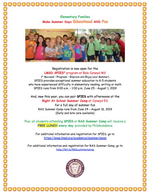 Usciences Academic Calendar.Registration Is Open For The Lmsd S Summer Spies Program Ras