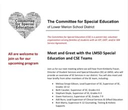 "Committee for Special Education's ""Meet & Greet with LMSD Special Education and CSE Teams"""