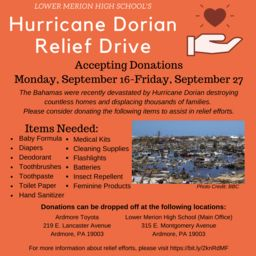LMHS hosting Hurricane Dorian Relief Drive for hard-hit Bahamas