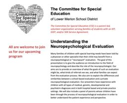 "CSE hosting ""Understanding the Neuropsychological Evaluation"""