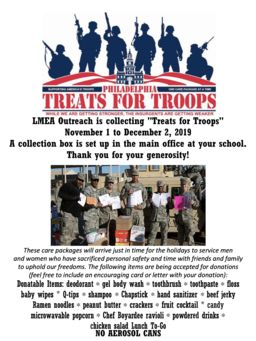 LMEA Outreach holding Treats for Troops Drive