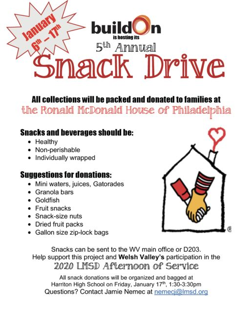 Welsh Valley buildOn 5th Annual Snack Drive