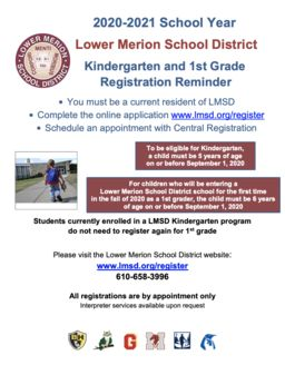 LMSD Kindergarten & 1st Grade Registration Reminder
