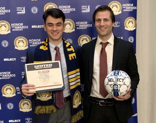 Aces Soccer Standout Phil Monos caps off remarkable season at PA State Coaches Award Ceremony
