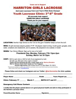 Harriton Girls Youth Lacrosse Clinic