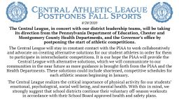 Central Athletic League (CAL) Postpones Fall Sports