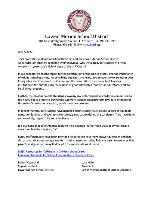 LMSD Statement on Violence at the U.S. Capitol