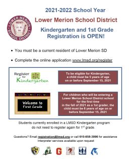 Kindergarten & 1st Grade Registration for 2021-22 School Year Now Open