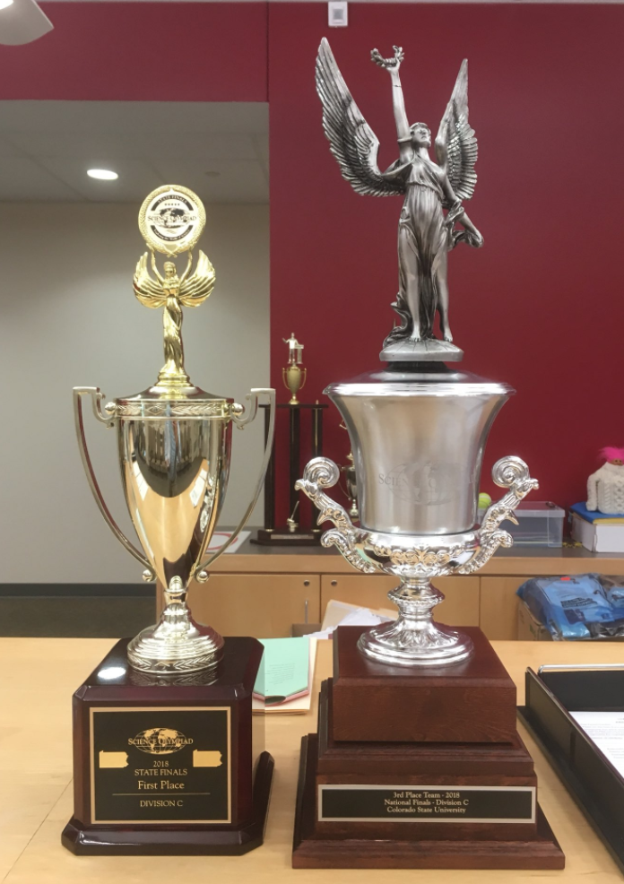 Harriton Science Olympiad State and National trophies