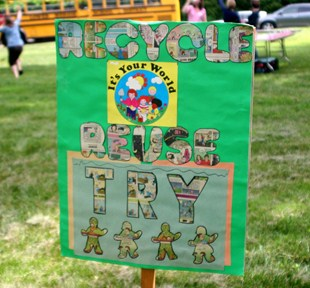 """Recycle, Reuse, Try"" sign made by LMSD students."