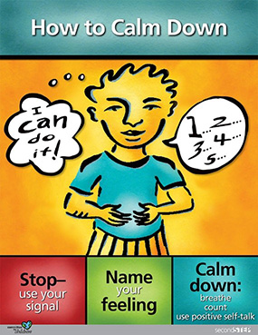 Stop - use your signal, Name your feeling, Calm down: breathe, count, use positive self-talk
