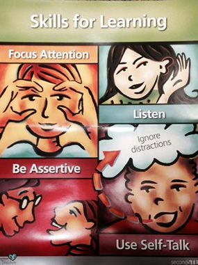 Focus Attention, Listen, Be Assertive, Use Self-Talk (Ignore distractions)