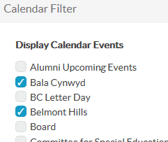 List of selected calendars in the filter