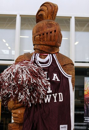 Wooden BC Knight Statue with BC Basketball Jersey and Pom-Pom