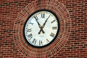 Clock on the front of Belmont Hills Elementary School.