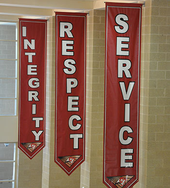 Banners hanging at Harriton HS - Service, Respect, Integrity