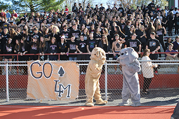 Student cheering section and school mascots